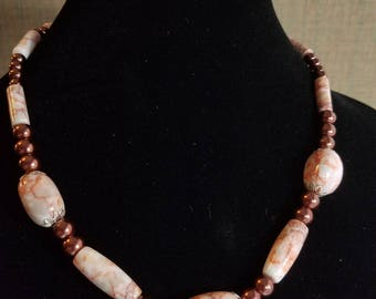 Necklace and earring set, redline marble natural stone  and glass beads