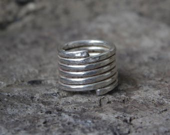 Pure silver coiled band ring. Hammered textured ring. Hand crafted, made to order.