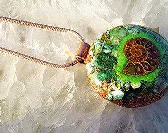 Orgonite® Orgone Pendant (Large) - Fuchsite/Turquoise/Ammonite - FREE WORLDWIDE SHIPPING!