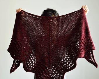 Burgundy Knit Scarf Shawl, Triangle Scarf, Wool Knit Scarf, Lace Shawl