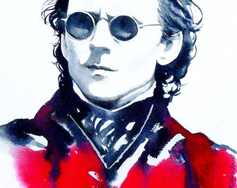Sir Sharpe Art Print Watercolour Painting Victorian Sunglasses Dark Atmosphere, Hair Salon Art