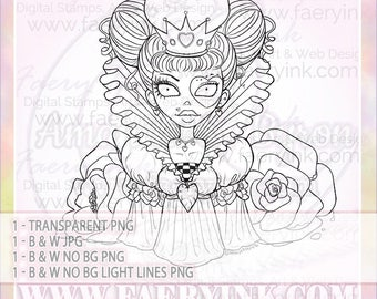 Ophelia in Wonderland Queen of Hearts UNCOLORED Digital Stamp Image Adult Coloring Page jpeg png jpg Craft Cardmaking Papercrafting DIY