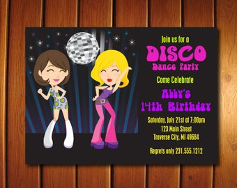 Dance Party Invitation - 70s Disco Invitations - Printable Disco Ball Birthday Invitation