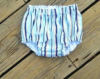 HandMade Striped Baby Bloomers-Baby Diaper Cover-Toddler Bloomers-Toddler Diaper Cover-Baby Boy Bloomers-Baby Boy Diaper Cover-Blue Orange