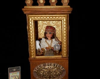 Dollhouse Doll, Fortune Teller Doll, Gypsy Doll, Fortune Teller Booth, Art Doll, 1/12th Scale, OOAK Handmade
