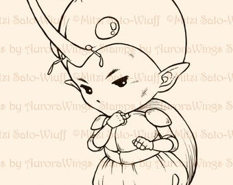 Digital Stamp - Horned Beetle Sprite - Instant Download - Little Tough Guy - Fantasy Line Art for Cards & Crafts by Mitzi Sato-Wiuff