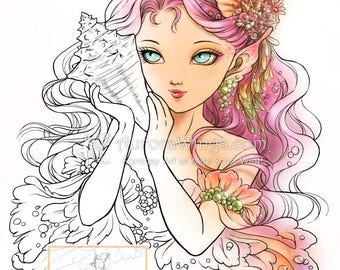 Digital Stamp - Whisper of the Sea - Mermaid Holding a Seashell - digistamp - Fantasy Line Art for Cards & Crafts from Aurora Wings
