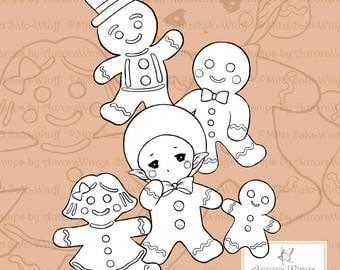 PNG Gingerbread Man Sprite - Aurora Wings Digital Stamp - Christmas Holiday Fairy Image - Line Art for Arts and Crafts by Mitzi Sato-Wiuff