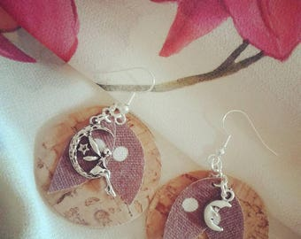 Cork earrings and fabrics with fairy and moon pendants