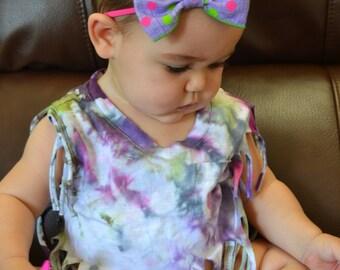Purple and Pink Bow Headband, Pink Nylon Bow Headband, Easter Headband, Birthday Headband, Polka Dot Headband, One Size Fits All Headband
