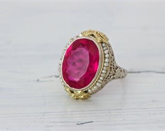 Edwardian Ring | Antique Promise Ring | Belle Epoque Ring | 14k White Gold Filigree Ring | Seed Pearl Halo | Ruby Red Gemstone | Size 7