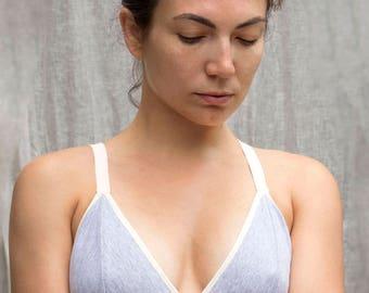 Organic Cotton Gray Bralette.  Soft Wireless Bra. Comfortable Supportive Bralette. Convertible Straps. Natural Handmade Lingerie