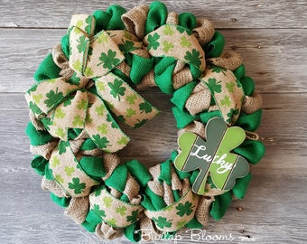 Shamrock Wreath, St Patrick's Day Wreath, St Patrick's Wreath, Welcome Wreath St Patrick's Day Decor, Front Door Wreath
