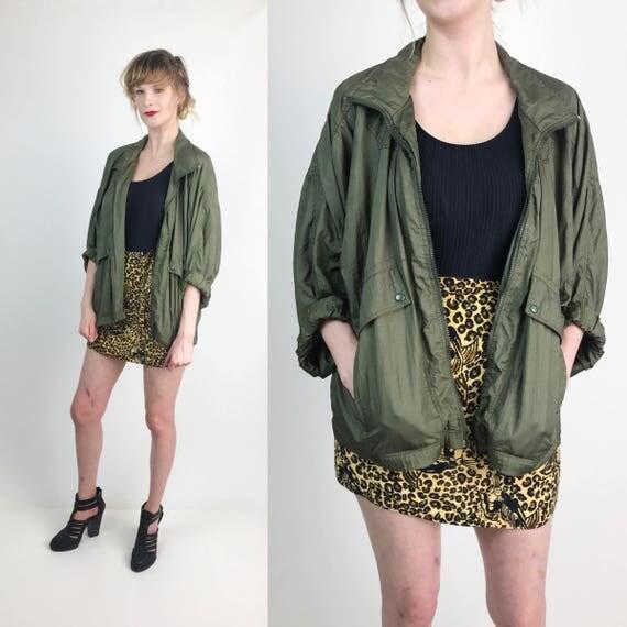 90's Olive Green Nylon Basic Windbreaker Jacket Womens Large - Everyday Nylon Baggy Streetwear Windbreaker Lightweight Vtg Fall Jacket