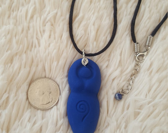 Goddess, Divine Feminine, Divine Mother Third Eye chakra necklace in royal blue with Lapis Lazuli bead