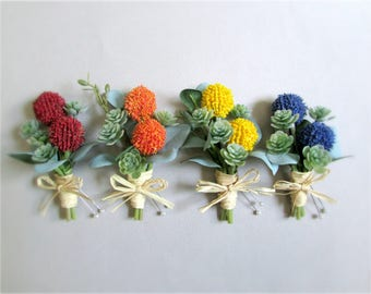 "Craspedia and Green Succulent Boutonnieres, Billy Buttons, Yellow, Orange, Red, or Blue Groom's Boutonniere, Groomsmen, ""Constant"""