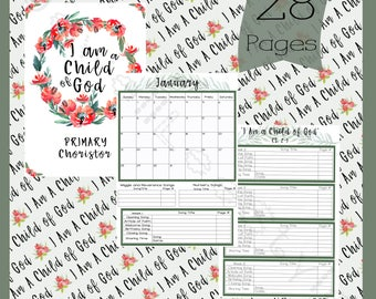 Primary Chorister and Pianist 2018, Singing Time Planner, LDS, I Am A Child of God - Printable Instant Download