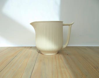 Vintage Ribbed Jug Pitcher by Clarice Cliff Pottery Designed by R.Y.Goodden Circa 1940s Cream and Pink Glaze