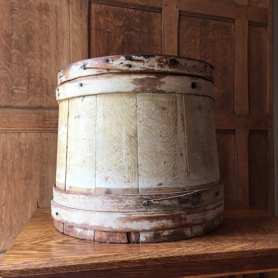 LARGE Wood Pantry Box, Wood Firkin, Antique Wood Cheese Box, Handmade Wooden Bucket, Primitive Sugar Bin, Wood Cheese Bin