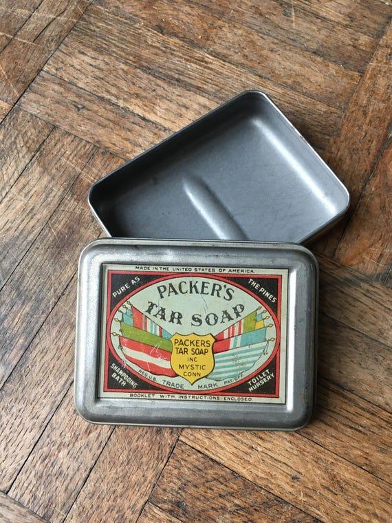 Antique Soap Tin, Packers Tar Soap, Mystic Connecticut, Rustic Industial Storage, Vintage Bathroom Decor