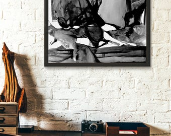 Black and White Abstract Art, Abstract Ink Drawing, Modern Abstract Ink Drawing, GICLEE art print, Large Abstract, Black and White Abstract