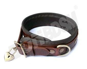 Bondage Restraint Collar w HEART SHAPED PADLOCK, soft padded Brown leather locking collar, bdsm restraints, fetish slave, Mature