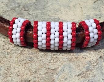 SALE: 3pc Handmade Beaded Tube Set, Licorice Leather Half Round,, 8mm round cord, Versatile, Red and White