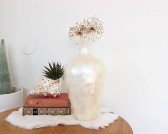 Vintage Capiz Shell Vase Flower Pot Seashell Planter Boho Home Decor