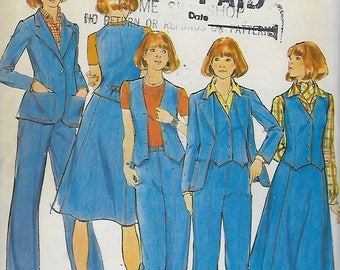 "Butterick 4660  Misses' Jacket, Vest, Skirt & Pants  Size 12  Bust 34""  UNCUT"
