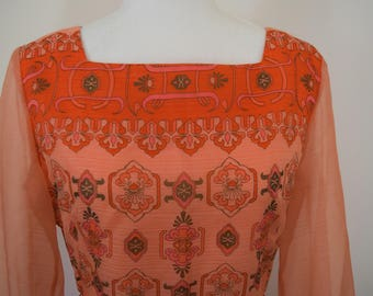 GORGEOUS Alfred Shaheen 1960's/1970's Peach Printed Maxi Dress