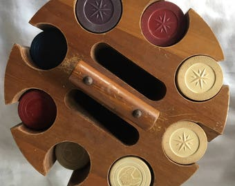 Poker Chip Caddy & Clay Chips with Cover