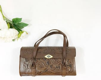 1960s Tooled Vintage Purse / Floral Tooled Leather Handbag 60s / Mexican Tooled Leather Dark Chocolate