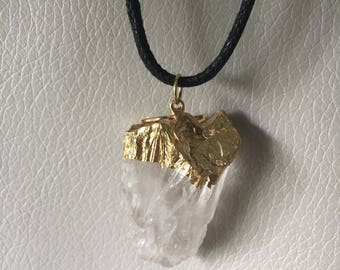 Real Quartz Crystal Necklace with Real Gold Leafing