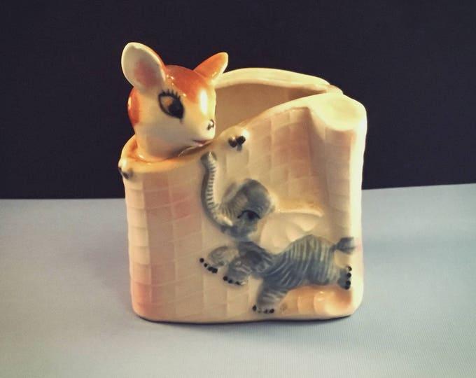 Mid Century Baby Planter - Deer & Elephant