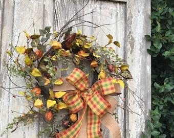 Fall Wreath, Autumn Wreath, Pumpkin Wreath, Thanksgiving Wreath, Rustic Fall Wreath,Fall door wreath,Fall wreath for door,Natual fall wreath