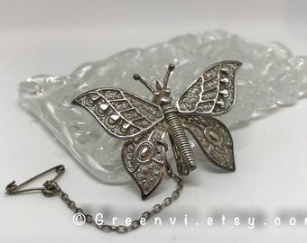Vintage Filigree Sterling Silver Butterfly Brooch Movable Wings with Safety Chain Vintage Costume Jewelry Gift for her