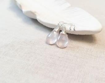 Sterling Silver Rose Quartz Drop Earrings - 925 Sterling Silver Wire Wrapped Faceted Pale Pink Quartz Drops Elegant Light Pink Modern Bridal