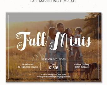 Fall Marketing Board, Autumn Template for Photographers, Fall Photoshop Template, Fall Marketing for Photography, Fall Mini Session, m160