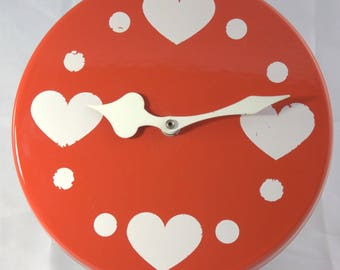 Wall Clock kitchen metal heart Heart 70s 70s 80s Graziella-style vintage