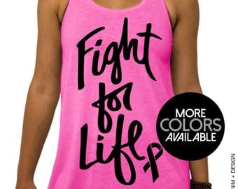Cancer Survivor Shirt, Fight For Life - Flowy Racerback Tank Top - Breast Cancer Awareness, Women's Clothing - Pink, Gray and White Tops