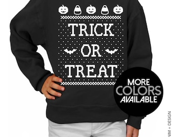 Kids Sweatshirt - Trick or Treat, Halloween Sweater, Youth Crew Neck Sweatshirt, Children's Clothing, Kids Costume, Candy, Unisex Sweater