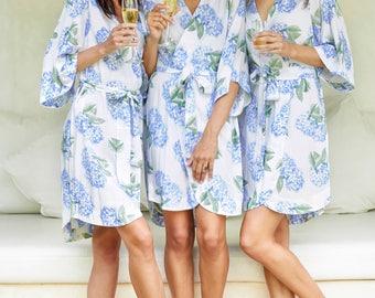 Bridesmaid Robe, Short Kimono Robe UNLINED - Hydrangea BLUE