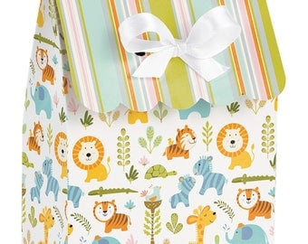 72 Happi Jungle Baby Shower Small Favor Bags with Ribbons  ~ Great Value! Lions, Tigers, Zebras, Giraffes!