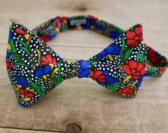 Liberty of London Red in Blue Flowers on Black Bow Tie