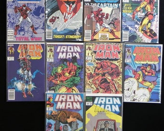 "Vintage ""Ironman"" Marvel Comic Books, Lot of 10, 1987-1992"