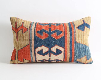12x20 vintage pillow, kilim, throw pillow, decorative pillow, needlepoint pillow, pillow, accent pillow, bohemian pillow, embroidered pillow