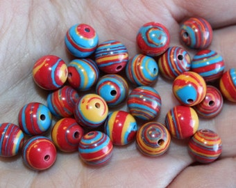 25 synthetic turquoise beads, 8 mm, hole  0.5 - 1 mm, striped mixed color beads, round and smooth