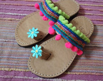 RiRiPoM, Kids Leather Sandals, Boho Sandals, Pom Pom Sandals, Girls Sandals, Greek Sandals,  Ethnic Sandals, ''Mariposa''