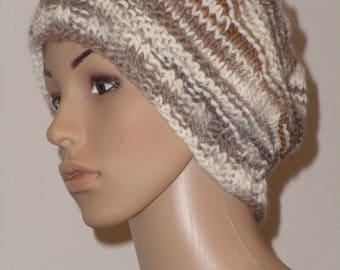 Knitted CAP in different shades of Brown