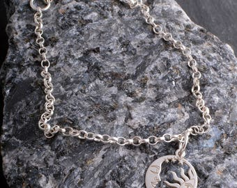 Sterling silver moon and sun chain charm bracelet sterling silver 925